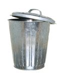 Trash can, lid ajar back Royalty Free Stock Image