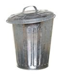 Trash can, lid ajar forward Stock Photo