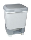 Trash can with lid isolated on white Stock Photos
