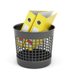 Trash can office folders isolated on white background. 3d render. Ing Royalty Free Stock Photo