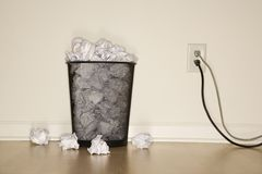 Trash can and outlet. Stock Images