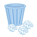 Trash Can and paper isolated illustration. On white background Stock Photos