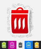 Trash can paper sticker with hand drawn elements Royalty Free Stock Photography