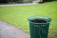 Trash can in a park royalty free stock photography