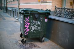 The trash can is on the pavement royalty free stock photos