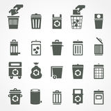 Trash can and recycle bin icons. Garbage and rubbish, clean and waste, dustbin and junk, container trashcan and basket. Vector illustration Stock Photos