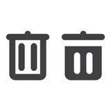 Trash can, recycle bin thick line and solid icon Royalty Free Stock Photos