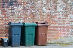 Trash can rubbish dustbin outside Royalty Free Stock Photo