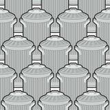 Trash can seamless pattern. Wheelie bin background. Dumpster iro Stock Photos