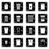 Trash can set icons, grunge style Royalty Free Stock Image
