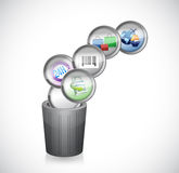 Trash can and shopping icons. illustration Royalty Free Stock Photos