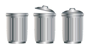 Trash can silver Stock Photography