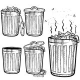 Trash can sketch. Doodle style trash can sketch in vector format. Set includes garbage cans in a variety of states Stock Image