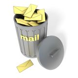 Trash can with spam. Trash can with mail spam isolated on white background Royalty Free Stock Photo