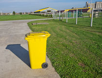 Trash can. Standing alone on modern cow farm Stock Image