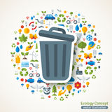Trash can symbol flat sticker Royalty Free Stock Photos