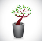 Trash can and tree recycle illustration Stock Photo