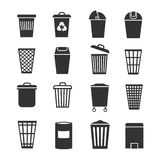 Trash can, waste basket and bin, garbage vector icons. Trash can, waste basket, trash bin, garbage vector icons. Dustbin and container, trashcan bucket Royalty Free Stock Photography