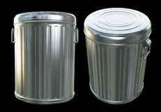 Trash Cans. Two poses of a realistic 3D trash cans Stock Photography