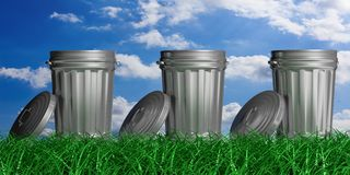 Trash cans on a blue sky and grass background. 3d illustration. Three trash bins on blue sky and grass background. 3d illustration royalty free illustration