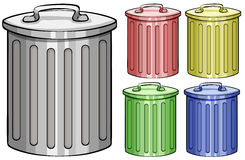 Trash cans. Five different color trash cans Stock Photo