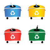 Trash cans illustration in colorful Royalty Free Stock Photo