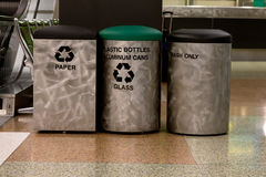 Trash cans inside Denver airport Royalty Free Stock Photos