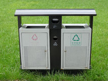 Trash Cans. In the park stock photo