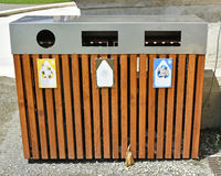 Trash cans for recycling Royalty Free Stock Image