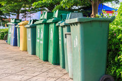 Trash cans in a row Royalty Free Stock Image