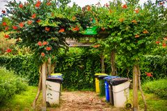 Trash cans for separate collection of garbage in summer park. Royalty Free Stock Images