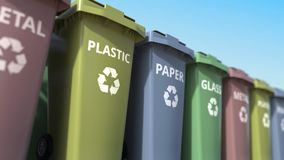 Trash cans for sorting paper, glass, metal and plastic garbage. Loopable animation
