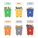 Trash cans  on white background Royalty Free Stock Photography
