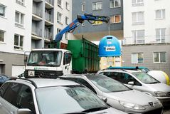 Trash car in Vilnius city Pasilaiciai district Stock Images