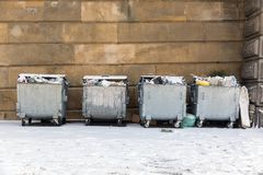 Trash of the city at winter Stock Photos