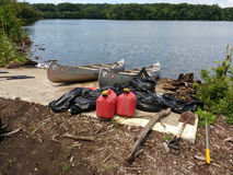 Trash Collected During A Cleanup Event, Gas Cans, USA. Pop-up Clean-up at Woodcliff Lake Reservoir in Woodcliff Lake, New Jersey, on July 8th 2017: This is just Royalty Free Stock Images