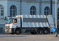 Trash collecting truck. Rostock Germany - April 20. 2018: Trash collecting truck royalty free stock photography
