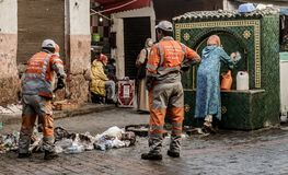 Trash collection in Old Medina, Casablanca, Morocca stock photography