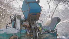 Trash collection vehicle stock video footage