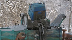 Trash collection vehicle To load garbage. Garbage truck, crane work. Pneumatics. stock video