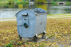 Trash container in the park Royalty Free Stock Images