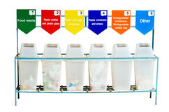 6 trash containers for garbage separation Royalty Free Stock Image