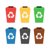 Trash containers for recycling. Colored trash containers for recycling. Recycling paper, glass, metal, bio, plastic, e-waste. Vector illustration in flat style royalty free illustration