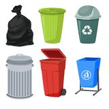 Trash containers set Stock Photo