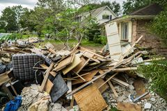 Trash and debris outside of Houston homes. Devastated after Hurricane Harvey stock photo
