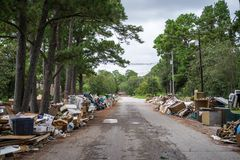 The devastation of Hurricane Harvey. Trash and debris outside of Houston homes devastated after Hurricane Harvey stock photo
