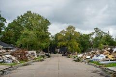 Hurricane Harvey Aftermath. Trash and debris outside of Houston homes devastated after Hurricane Harvey stock image