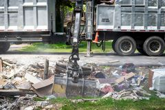 Trash and debris outside of Houston homes. Devastated after Hurricane Harvey stock photography