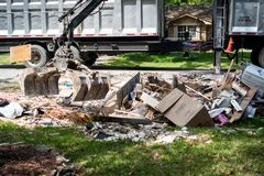 Trash and debris outside of Houston homes. Devastated after Hurricane Harvey royalty free stock images