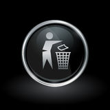 Trash disposal bin icon inside round silver and black emblem Royalty Free Stock Images